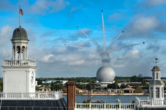 U.S. Air Force Thunderbirds fly over Spaceship Earth at EPCOT at Walt Disney World Resort in Lake Buena Vista, Fla., Oct. 29, 2020, as a kickoff for National Veterans and Military Families Month in November. (Matt Stroshane, photographer)