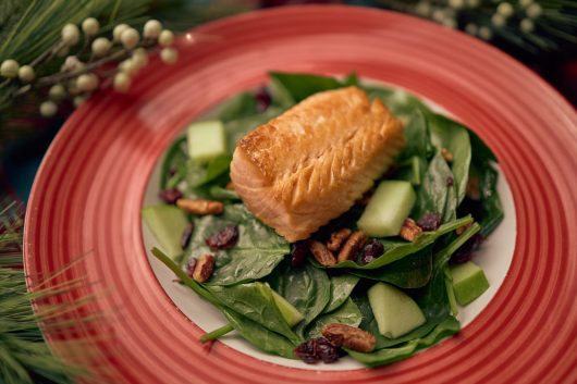 Cold Salmon Winter Salad-Spinach, Apples, Pecans, Cranberries and Raspberry Vinaigrette