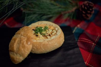 Cupid's Corn Chowder Soup in a Bread Bowl with Chives