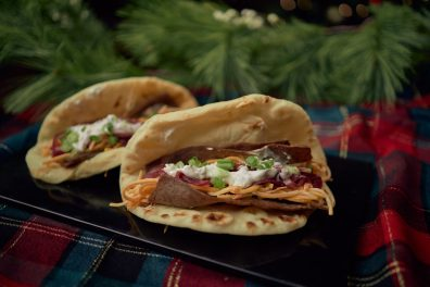 Gyro with Butternut Squash Slaw, Tzatziki, Pickled Red Onions in a Naan Bread (2)