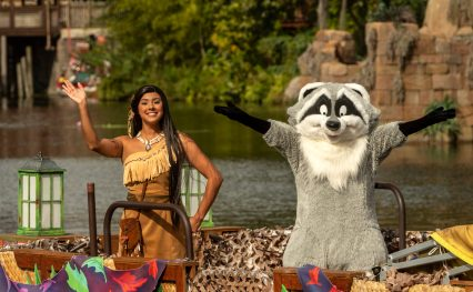 Pocahontas (left) and Meeko (right) sail down Discovery River as part of the holiday celebrations happening at Disney's Animal Kingdom at Walt Disney World Resort in Lake Buena Vista, Fla. (Kent Phillips, photographer)