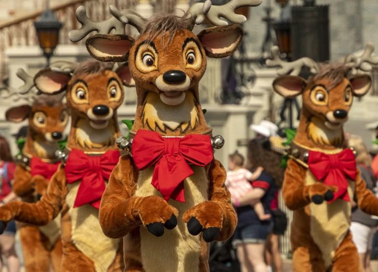 Reindeer saunter down Main Street, U.S.A., as part of the holiday celebrations at Magic Kingdom Park at Walt Disney World Resort in Lake Buena Vista, Fla. (Kent Phillips, photographer)