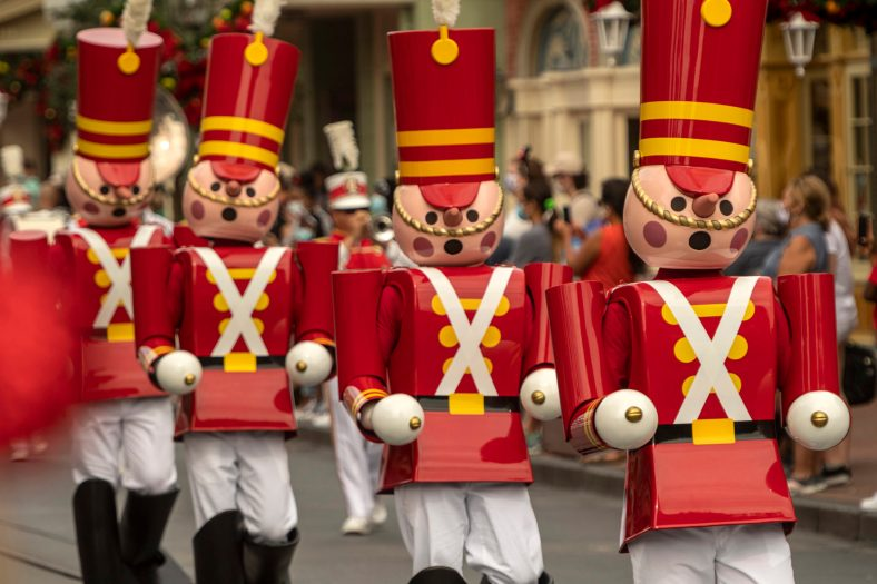 Toy soldiers march down Main Street, U.S.A., as part of the holiday celebrations at Magic Kingdom Park at Walt Disney World Resort in Lake Buena Vista, Fla. (Kent Phillips, photographer)