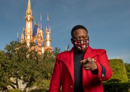 "Singer and actor Tituss Burgess enjoys the holiday cheer at Magic Kingdom Park at Walt Disney World Resort in Lake Buena Vista, Fla., Thursday, Dec. 3, 2020, during a taping of ""The Disney Parks Magical Christmas Celebration."" The holiday special will air on ABC on Dec. 25, 10am-12pm ET. (Kent Phillips, photographer)"