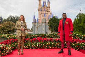 "Julianne Hough and Tituss Burgess co-host ""The Disney Parks Magical Christmas Celebration"" from Magic Kingdom Park at Walt Disney World Resort in Lake Buena Vista, Fla. on Friday, Dec. 4, 2020. The holiday special will air on ABC on Dec. 25, 10am-12pm ET. (Kent Phillips, photographer)"