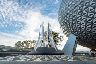 A reimagined fountain at the main entrance of EPCOT shines in front of Spaceship Earth at Walt Disney World Resort in Lake Buena Vista, Fla., Dec. 22, 2020. The fountain hearkens back to the origins of EPCOT and is the next milestone in the park's ongoing historic transformation. (Matt Stroshane, photographer)