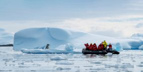 During the Adventures by Disney Antarctica and Patagonia Expedition Cruise, guests will embark on daily boat excursions and hike along Antarctica's shorelines, catching glimpses of native wildlife like seabirds, penguins and seals in their natural habitat. All offshore excursions are led by naturalists. (PONANT/Olivier Blaud, photographer)