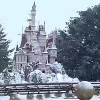 Snow Comes Down at Disneyland Paris