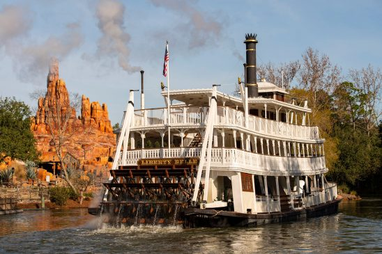 The Liberty Belle riverboat sails Rivers of America through Frontierland at Magic Kingdom Park in Walt Disney World Resort in Lake Buena Vista, Fla., following a scheduled four-month refurbishment to replace the authentic paddle wheeler's underwater track. (David Roark, photographer)