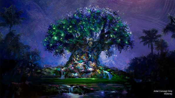 "In this artist rendering, the Tree of Life becomes a Beacon of Magic in Disney's Animal Kingdom Theme Park at Walt Disney World Resort in Lake Buena Vista, Fla. As part of ""The World's Most Magical Celebration"" honoring Walt Disney World Resort's 50th anniversary beginning Oct. 1, 2021, the tree and other icons at each Walt Disney World theme park will come to life at night with their own EARidescent glow. (Disney)"