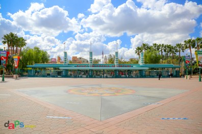 Looking at the entrance of Disney California Adventure with physical distance markers in place ahead of A Touch of Disney