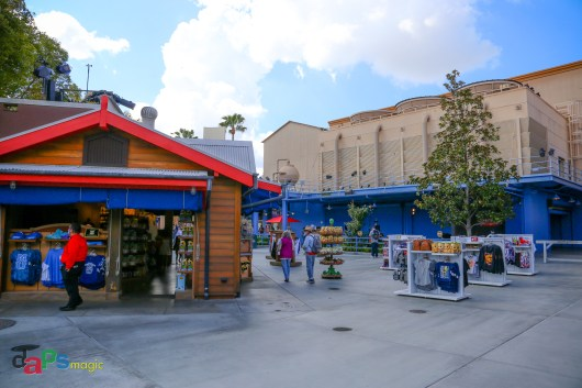 Looking back at the Studio Store after coming out of Disneyland Resort Backlot Premiere Shop