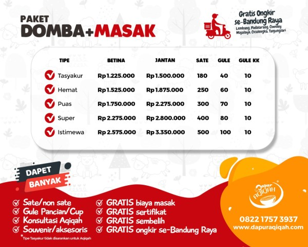 Harga paket aqiqah Bandung-Cimahi (harga per ekor kambing aqiqah matang)