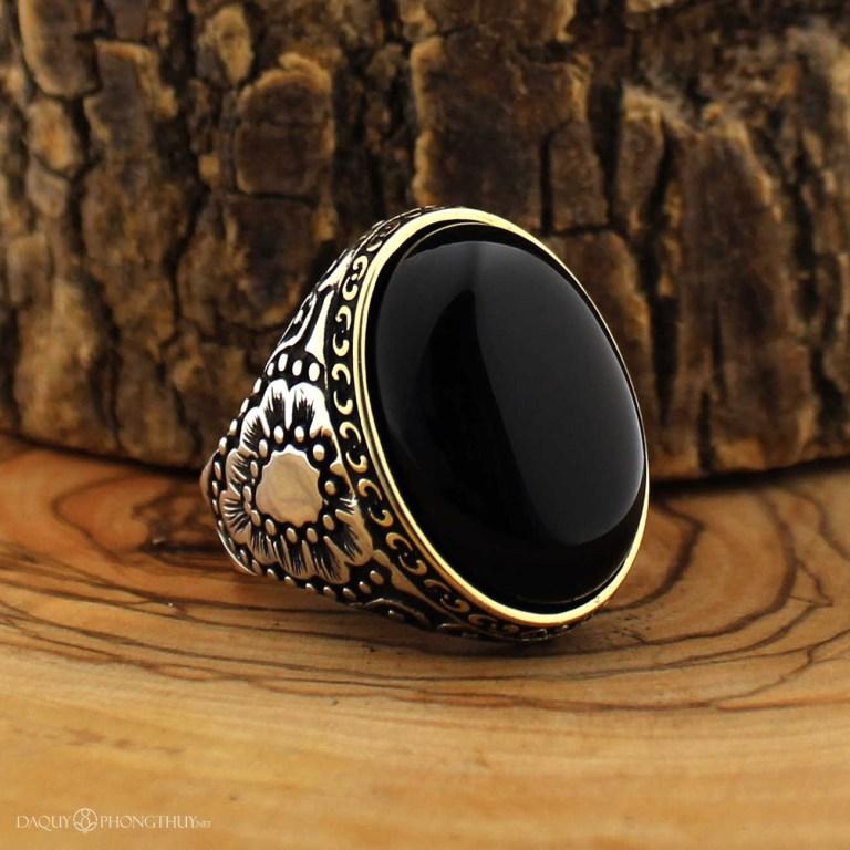 Nhẫn đá Onyx đen