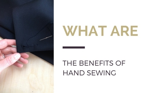 Blog title next to an image of a hand holding a piece of fabric with a hand stitched button hole
