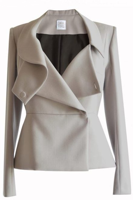 Light grey women's suit jacket with asymmetric draped collar
