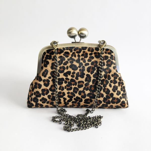Leopard print clutch purse with chain strap