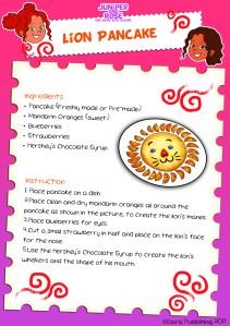 Lion Pancake Recipe Card