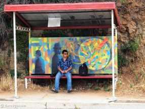 Valparaiso StreetArt: bus stop Av Alemania
