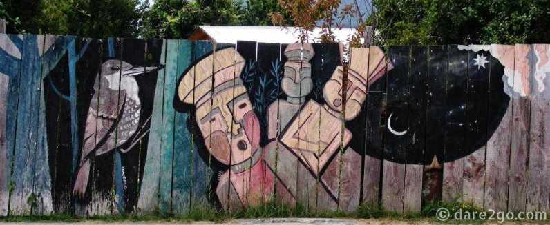 Llifen, Lago Ranco, art on a paling fence