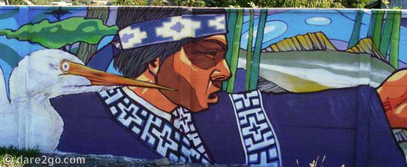 Puerto Dominguez: Mapuche reminiscent streetart