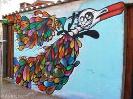 Vicuña: fantasy bird streetart