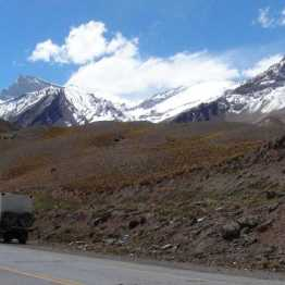 Aconcagua as seen from side of road