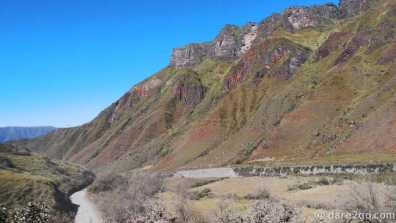 RP33, Salta Province: colourful mountain cliffs along the road