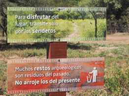 "Sign at Shincal Ruins in Argentina: ""Many archaeological remains are remnants/trash of the past. Don't add any from the present."""