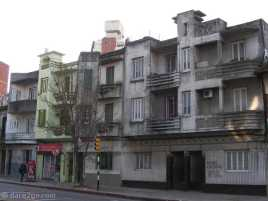 Montevideo: row of decaying Art-Deco buildings at the bottom end of Avenida España.