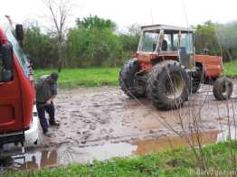 Here comes the tractor. He had some difficulties pulling us out as it slipped sideways too.
