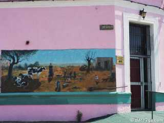 One of the murals on the pink corner house in Villa 25 de Agosto