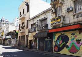 StreetArt Buenos Aires: a view down Calle Libertad showing all the different shutters