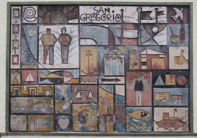 A three-dimensional ceramic wall-art piece themed for the town of San Gregorio.