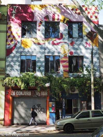 This modern street art facade is near the Tristan Narvaja Sunday market in Montevideo.