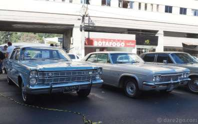 A Ford Galaxy 500 and a Chevrolet Impala - both in very sparkly condition.