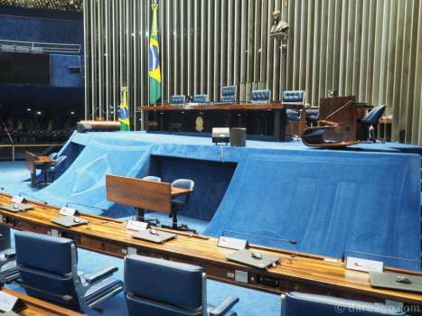 Brasilia: inside the Senate. NOTE: the blue designs, like the Brazilian flag in the middle, are created by an artist with a vacuum cleaner on the carpeted surface of the podium. They need refreshing every month.