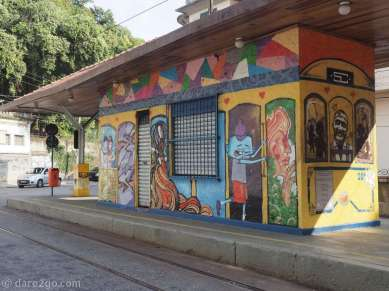 One of the tram stops in Santa Teresa – eye catching with its tram mural.