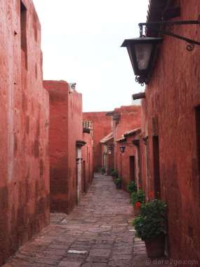 This is one of the streets inside the Santa Catalina convent. The houses were financed by the nuns' families and individually built, hence such different styles.