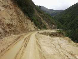 Here another recent mudslide had been cleared away - it must have been a big one...