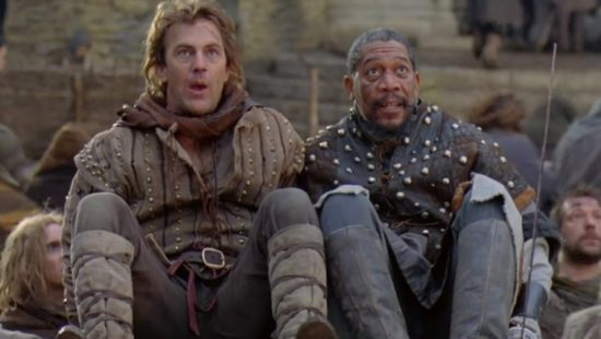 Kevin Costner and Morgan Freeman in Robin Hood: Prince of Thieves