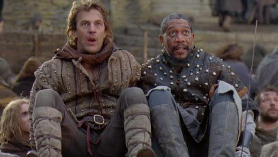 Kevin Costner and Morgan Freeman in Robin Hood: Prince of Thieves