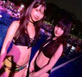 胸元セクシービキニのふたり組をキャッチ♡|水着スナップ