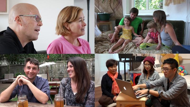 왼쪽 위부터 시계방향, 원격으로 본인의 로펌을 경영하는 변호사 Rosen부부, 블로그 thefamilywithoutborders.com로 잘 알려진 노마드 가족, 제제미미 부부, 프리랜서를 위한 플랫폼 Upwork에서 근무하는 Sondra와 작가 Jeremy 부부