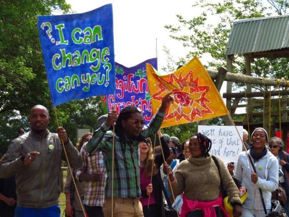 Anti-Fracking protestors at Rhino Oil & Gas meeting