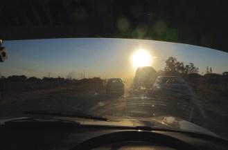 Arriving in Lusaka at dusk.