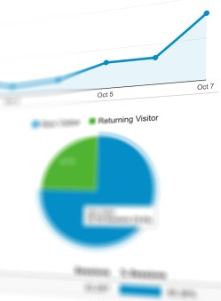A pie chart and line graph. The line graph shows a growth trend.