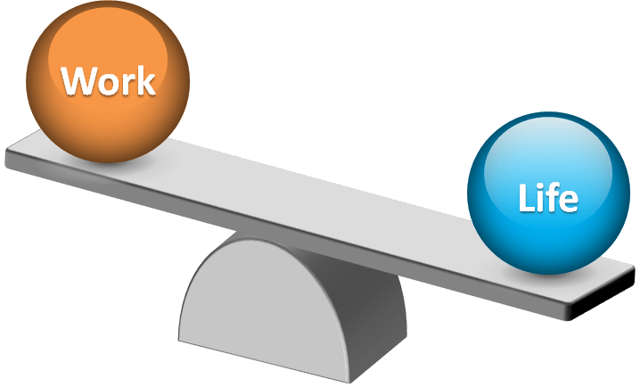 """Two balls labelled """"Work"""" and """"Life"""" on opposite ends of a plank which is balanced on a pivot point"""