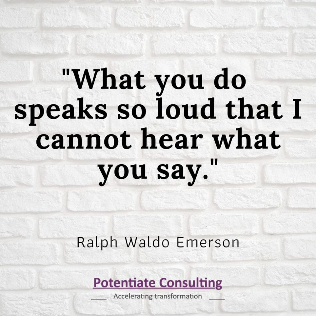 """Black text over white background: """"What you do speaks so loud that I vcannot hear what you say"""" Ralph Waldo Emerson"""