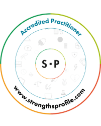 Strengths Profile Accredited Practitioner logo; I am an experienced Strengths Profile coach
